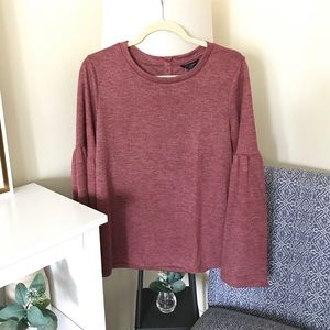 LUCKY BRAND | Heathered Red Bell Sleeve Sweatshirt
